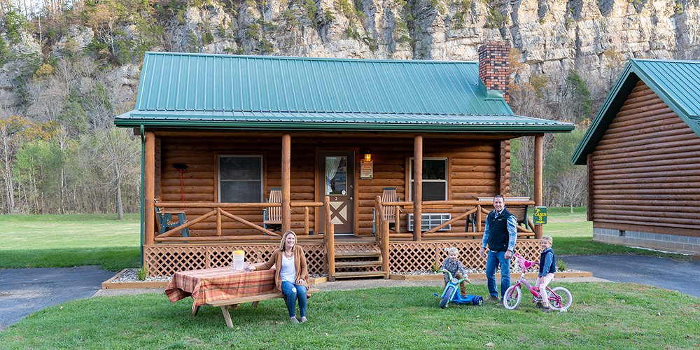 building cabin with family